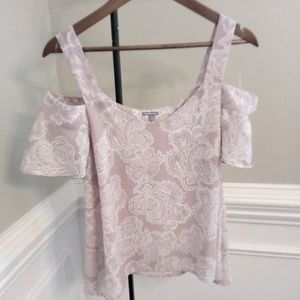 Charlotte Russe cold shoulder top pink and white